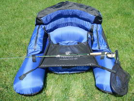 front view of ultralight float tube for fly fishing high mountain lakes