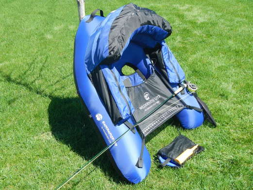 oblique view of ultralight float tube for fly fishing high mountain lakes